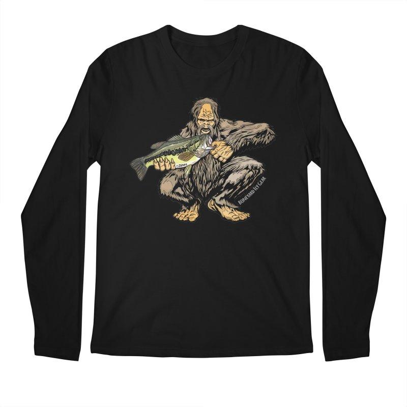 Squatch LM Bass XL in Men's Regular Longsleeve T-Shirt Black by Boneyard Studio - Boneyard Fly Gear