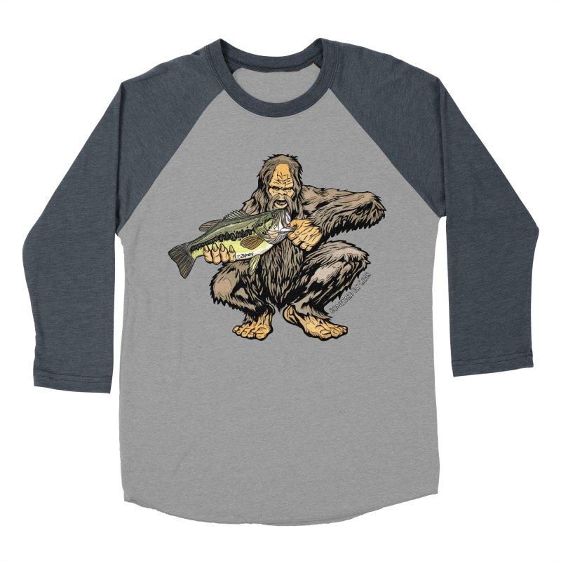 Squatch LM Bass XL Men's Baseball Triblend Longsleeve T-Shirt by Boneyard Studio - Boneyard Fly Gear