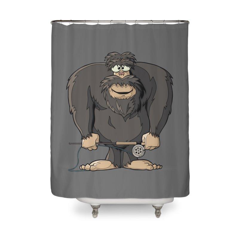 Squatch broke his rod Home Shower Curtain by Boneyard Studio - Boneyard Fly Gear