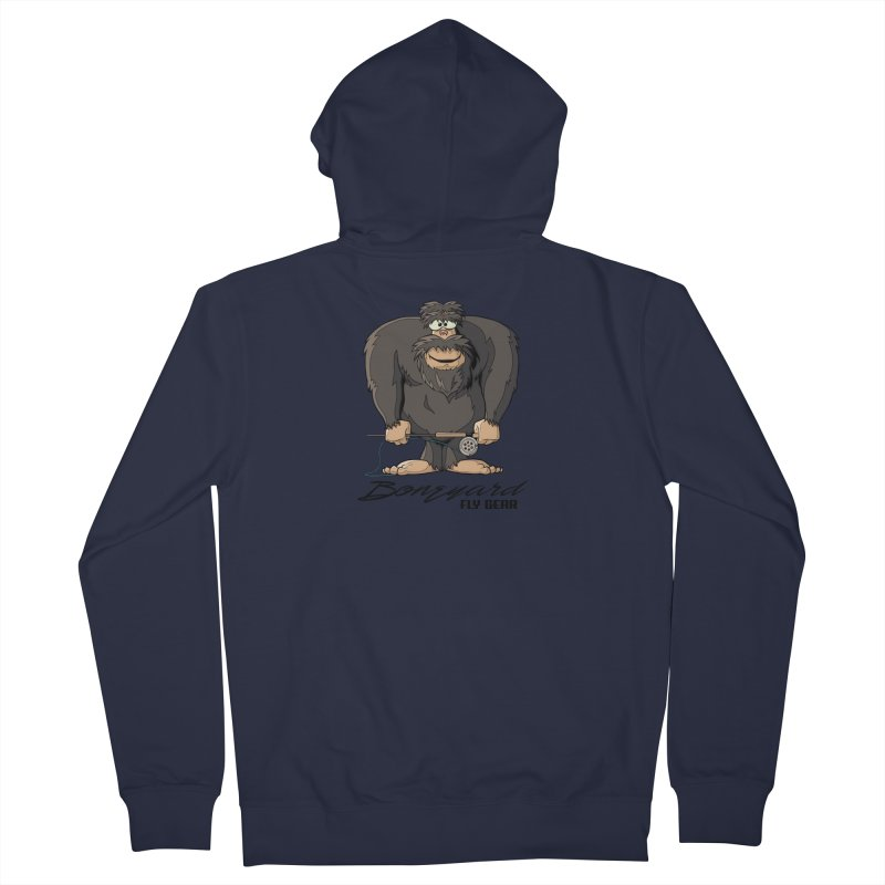 Squatch broke his rod Men's French Terry Zip-Up Hoody by Boneyard Studio - Boneyard Fly Gear
