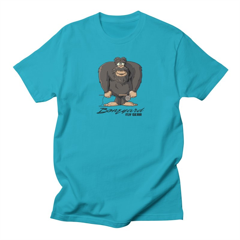 Squatch broke his rod Men's Regular T-Shirt by Boneyard Studio - Boneyard Fly Gear