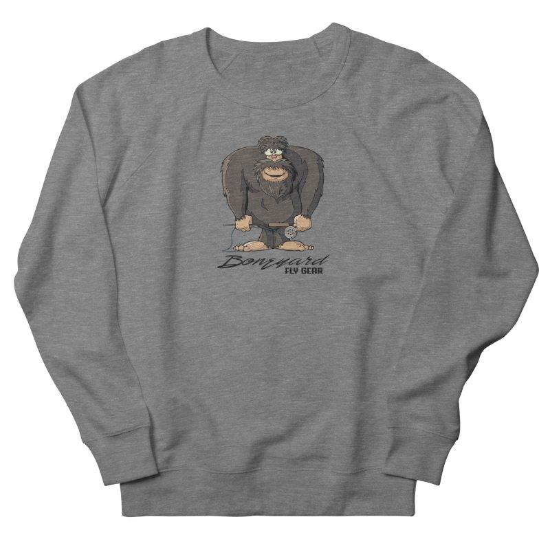 Squatch broke his rod Men's French Terry Sweatshirt by Boneyard Studio - Boneyard Fly Gear