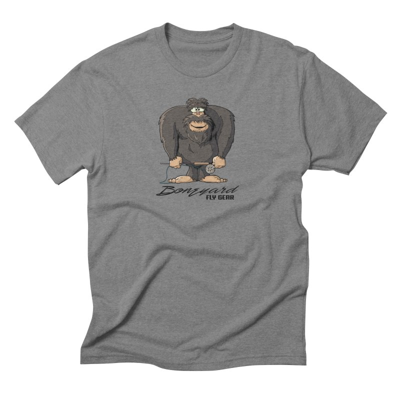 Squatch broke his rod in Men's Triblend T-Shirt Grey Triblend by Boneyard Studio - Boneyard Fly Gear