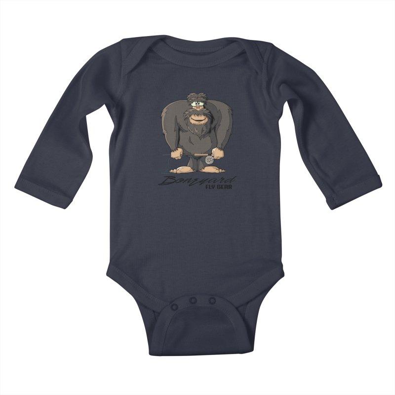 Squatch broke his rod Kids Baby Longsleeve Bodysuit by Boneyard Studio - Boneyard Fly Gear