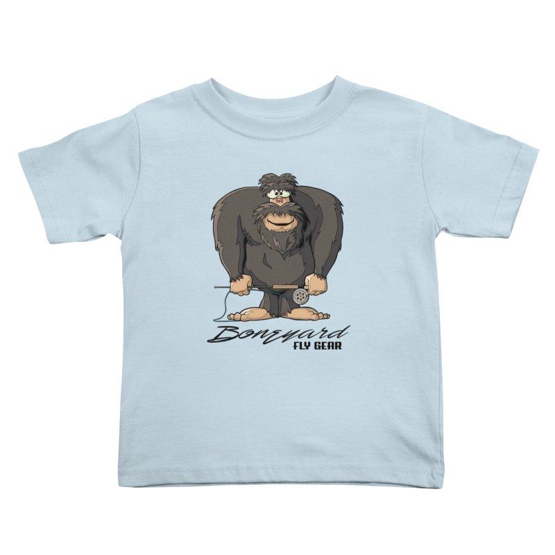 Squatch broke his rod Kids Toddler T-Shirt by Boneyard Studio - Boneyard Fly Gear