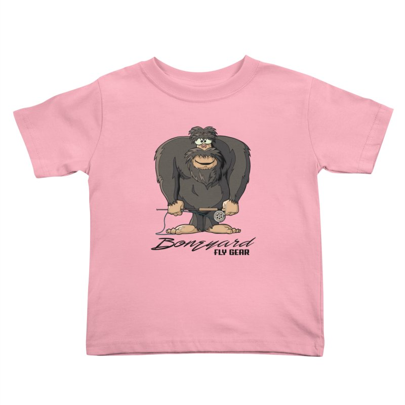 Squatch broke his rod Kids Toddler T-Shirt by Boneyard Studio - Boneyard Fly Gear