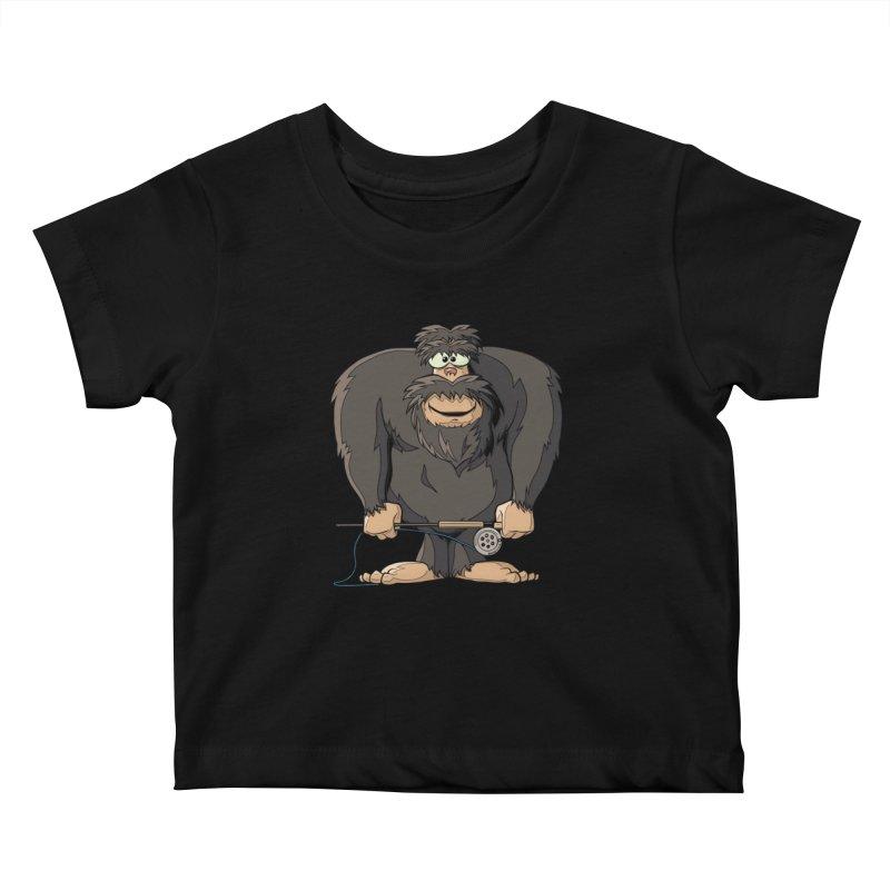 Squatch broke his rod Kids Baby T-Shirt by Boneyard Studio - Boneyard Fly Gear