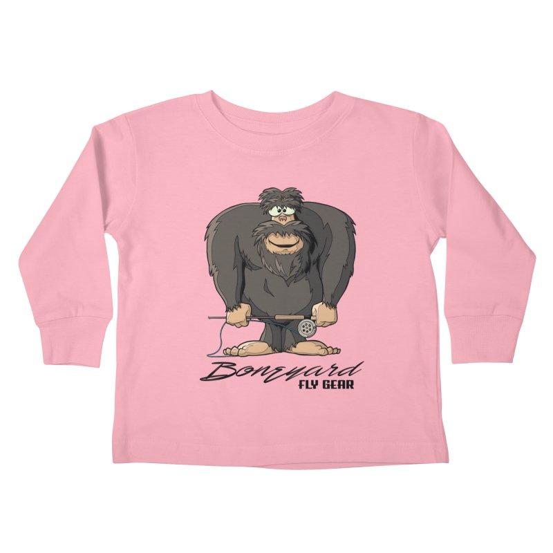 Squatch broke his rod Kids Toddler Longsleeve T-Shirt by Boneyard Studio - Boneyard Fly Gear