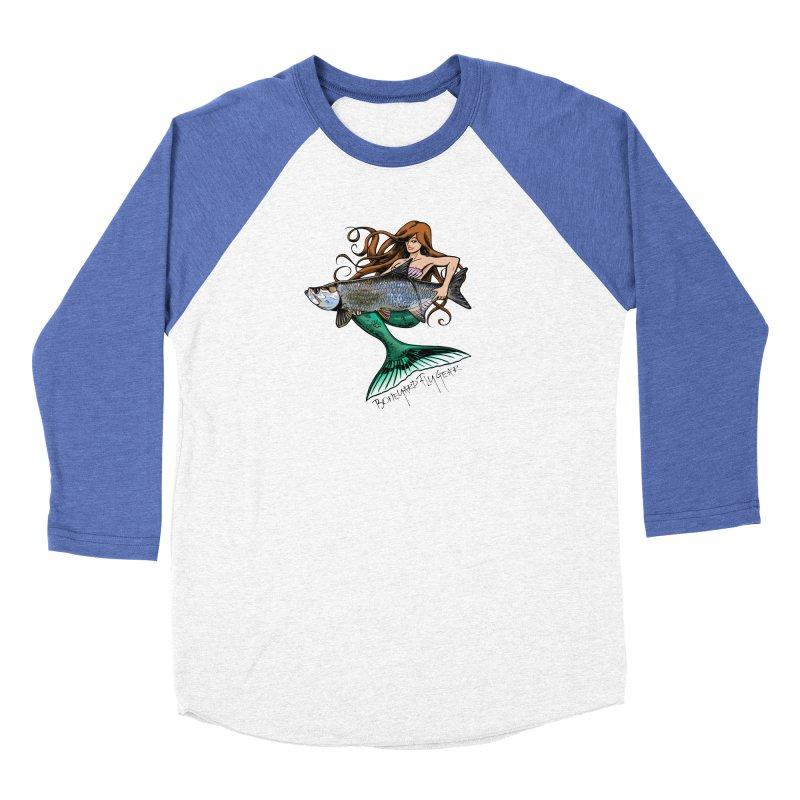 Mermaid Tarpon Women's Baseball Triblend Longsleeve T-Shirt by Boneyard Studio - Boneyard Fly Gear