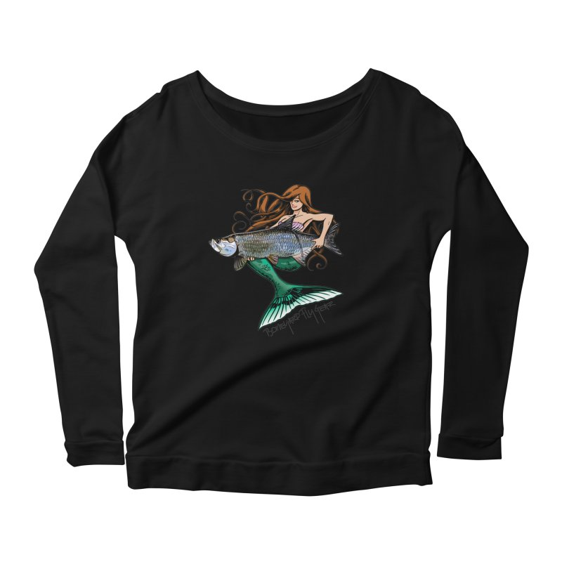 Mermaid Tarpon Women's Scoop Neck Longsleeve T-Shirt by Boneyard Studio - Boneyard Fly Gear