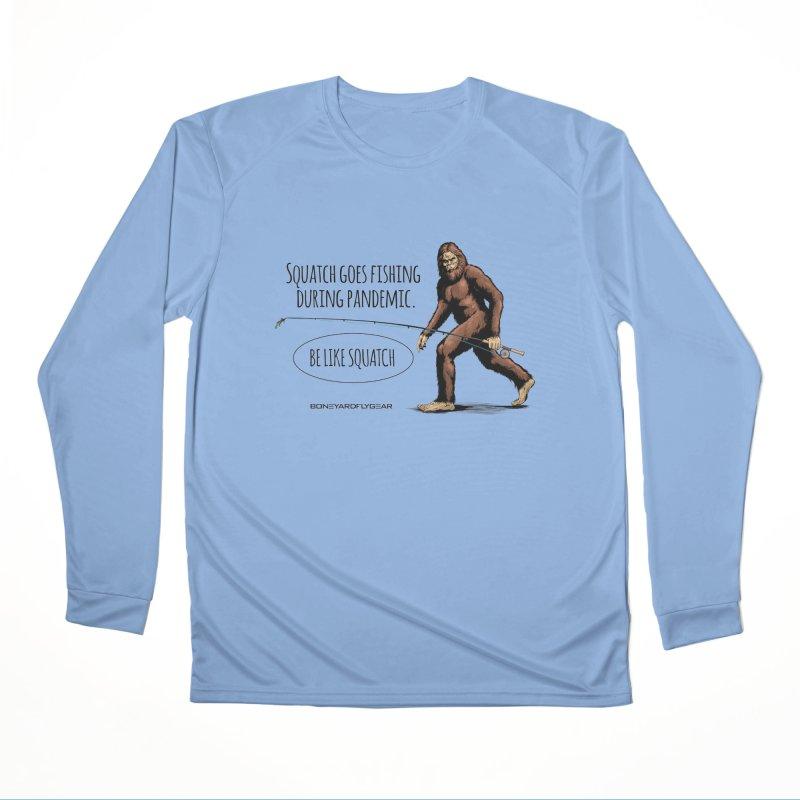 Squatch goes fishing during pandemic Men's Performance Longsleeve T-Shirt by Boneyard Studio - Boneyard Fly Gear