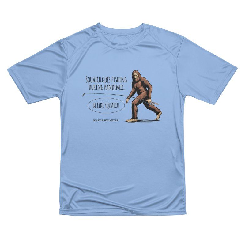 Squatch goes fishing during pandemic Men's Performance T-Shirt by Boneyard Studio - Boneyard Fly Gear