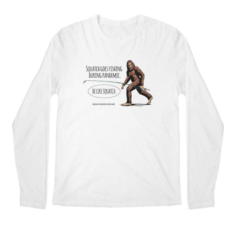 Squatch goes fishing during pandemic Men's Regular Longsleeve T-Shirt by Boneyard Studio - Boneyard Fly Gear