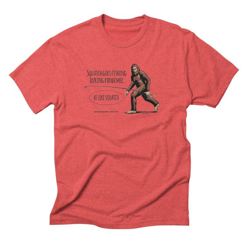 Squatch goes fishing during pandemic Men's Triblend T-Shirt by Boneyard Studio - Boneyard Fly Gear