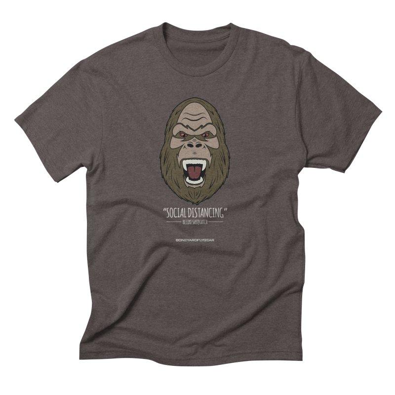 "Be like Sasquatch ""Social Distancing"" Men's Triblend T-Shirt by Boneyard Studio - Boneyard Fly Gear"