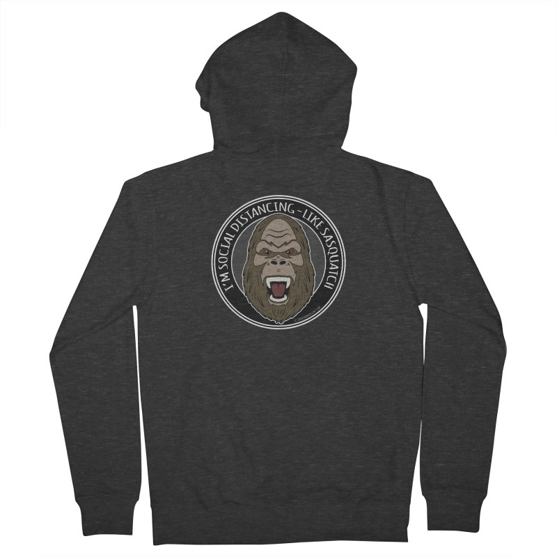 Sasquatch Social Distancing Men's French Terry Zip-Up Hoody by Boneyard Studio - Boneyard Fly Gear