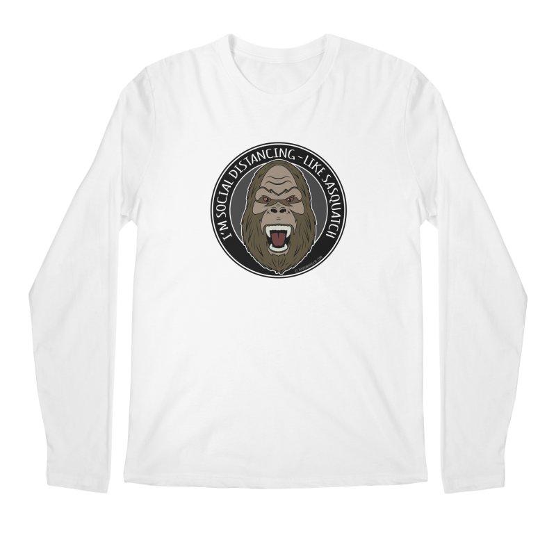 Sasquatch Social Distancing Men's Regular Longsleeve T-Shirt by Boneyard Studio - Boneyard Fly Gear