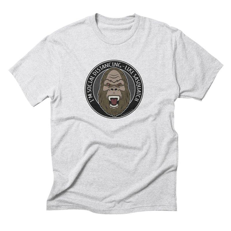 Sasquatch Social Distancing Men's Triblend T-Shirt by Boneyard Studio - Boneyard Fly Gear