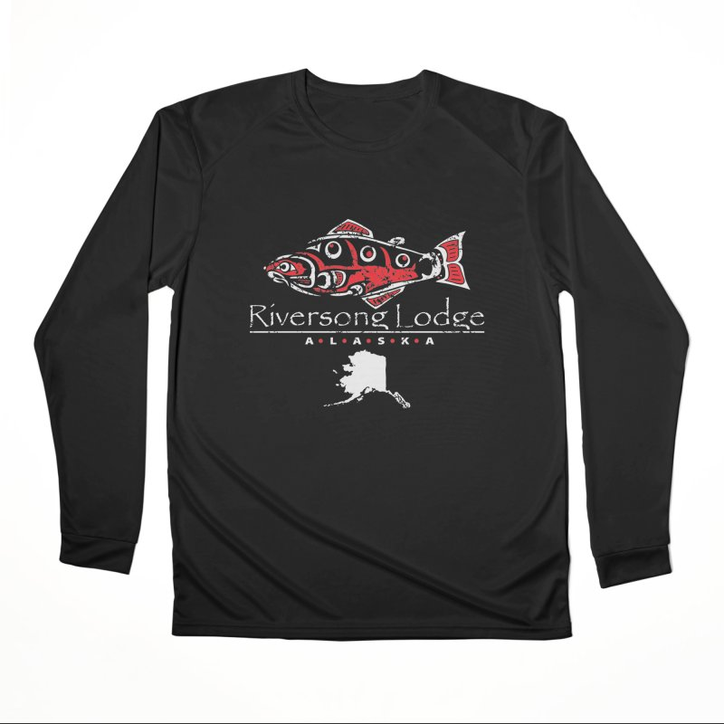 Riversong Lodge logo - white Men's Longsleeve T-Shirt by Boneyard Studio - Boneyard Fly Gear