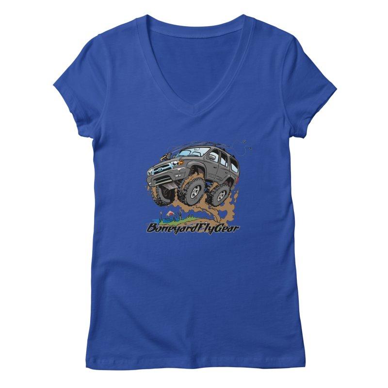Runnin' to the Run Women's V-Neck by Boneyard Studio - Boneyard Fly Gear