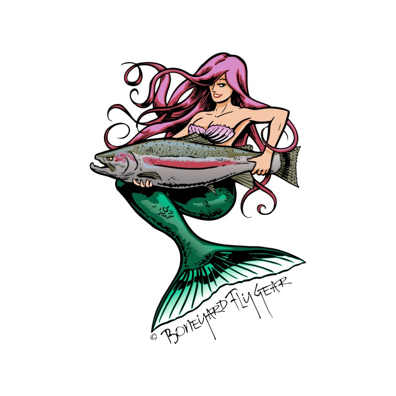Mermaid with Steelhead Kids Longsleeve T-Shirt by Boneyard Studio - Boneyard Fly Gear