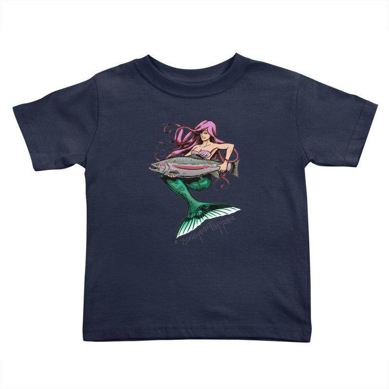 Mermaid with Steelhead Kids Toddler T-Shirt by Boneyard Studio - Boneyard Fly Gear