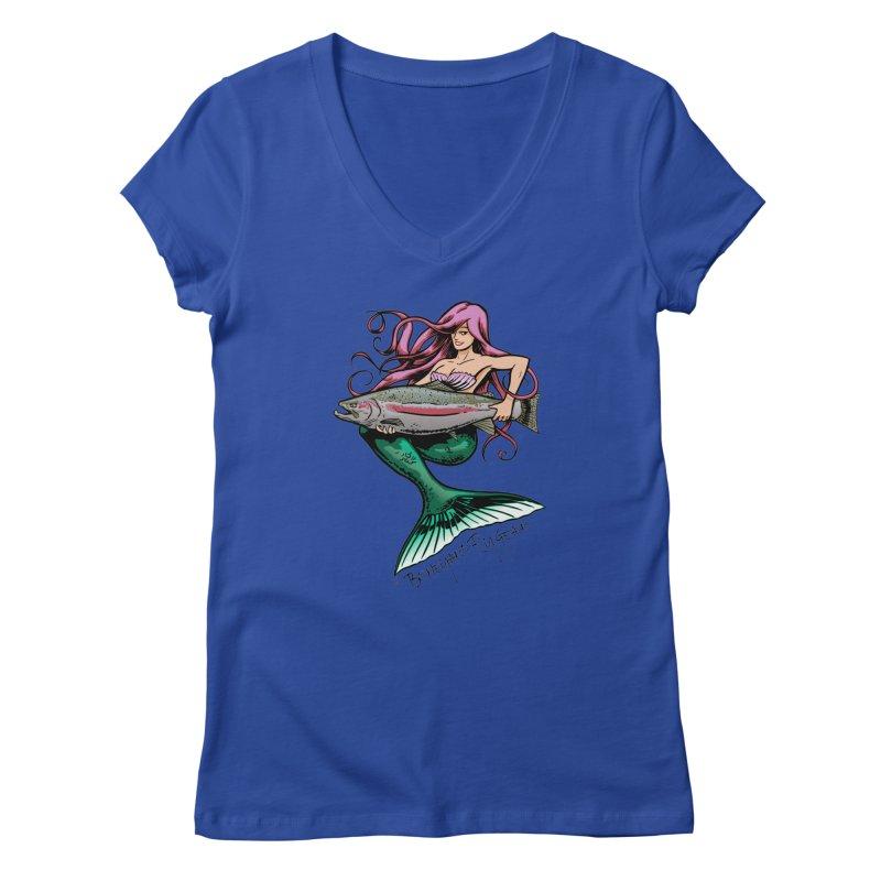 Mermaid with Steelhead Women's V-Neck by Boneyard Studio - Boneyard Fly Gear