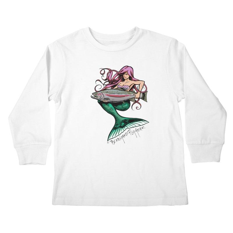 Mermaid with Steelhead Kids Longsleeve T-Shirt by Boneyard Studio - Boneyard Fly Gear