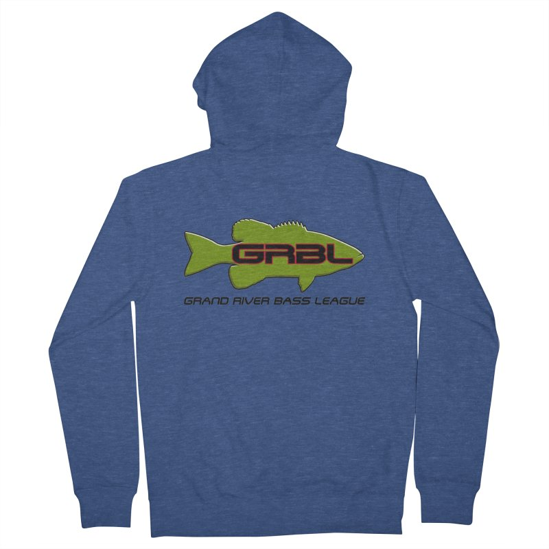 GR Bass League logo - Green Men's Zip-Up Hoody by Boneyard Studio - Boneyard Fly Gear