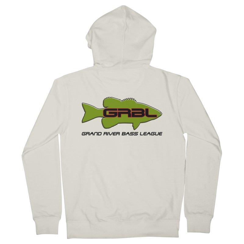GR Bass League logo - Green Men's French Terry Zip-Up Hoody by Boneyard Studio - Boneyard Fly Gear