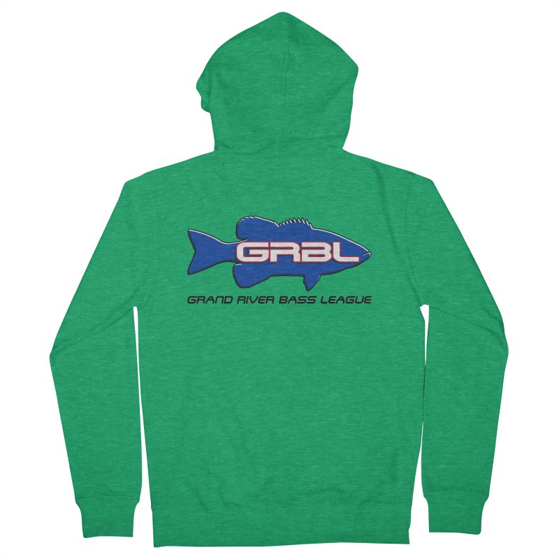 GR Bass League Logo - blue Men's Zip-Up Hoody by Boneyard Studio - Boneyard Fly Gear