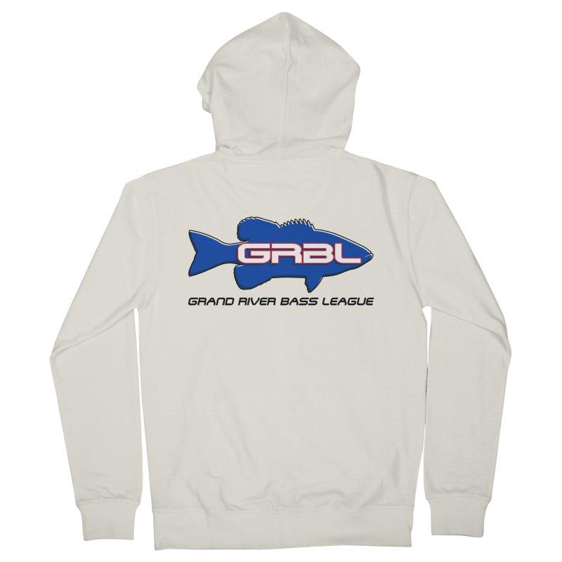 GR Bass League Logo - blue Men's French Terry Zip-Up Hoody by Boneyard Studio - Boneyard Fly Gear