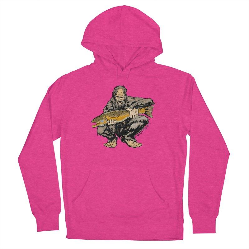 Sasquatch with Brown Trout Men's Pullover Hoody by Boneyard Studio - Boneyard Fly Gear