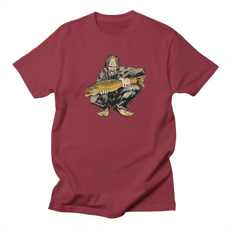 Sasquatch with Brown Trout Men's T-Shirt by Boneyard Studio - Boneyard Fly Gear