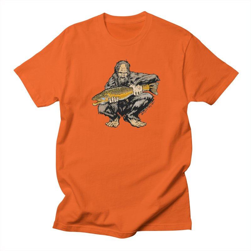 Sasquatch with Brown Trout Men's T-Shirt by Boneyard Studio - Boneyard Fly Gear