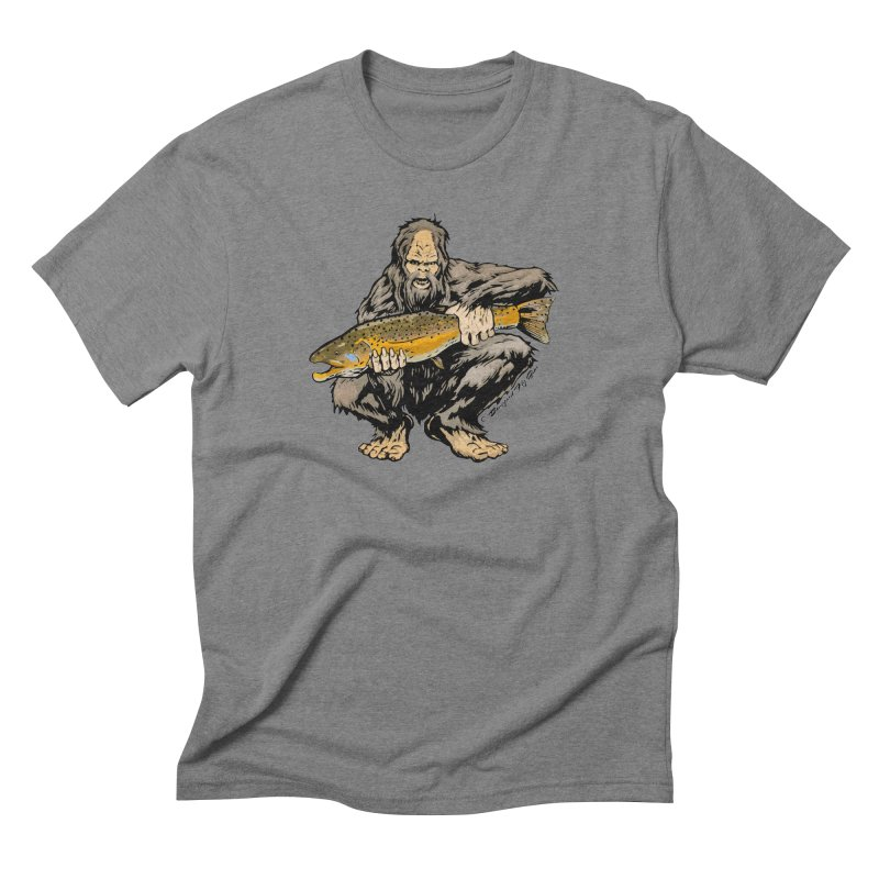 Sasquatch with Brown Trout in Men's Triblend T-Shirt Grey Triblend by Boneyard Studio - Boneyard Fly Gear