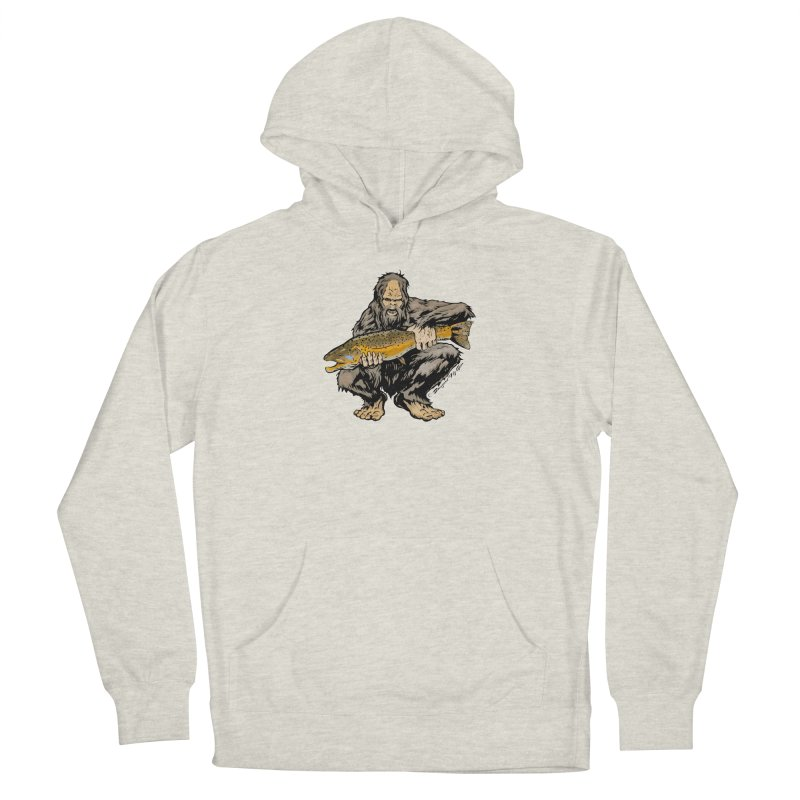 Sasquatch with Brown Trout Men's Pullover Hoody by Boneyard Studio - Boneyard Fly Gear