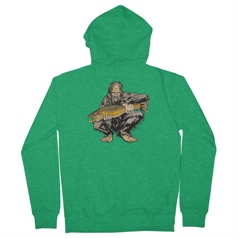 Sasquatch with Brown Trout Men's Zip-Up Hoody by Boneyard Studio - Boneyard Fly Gear