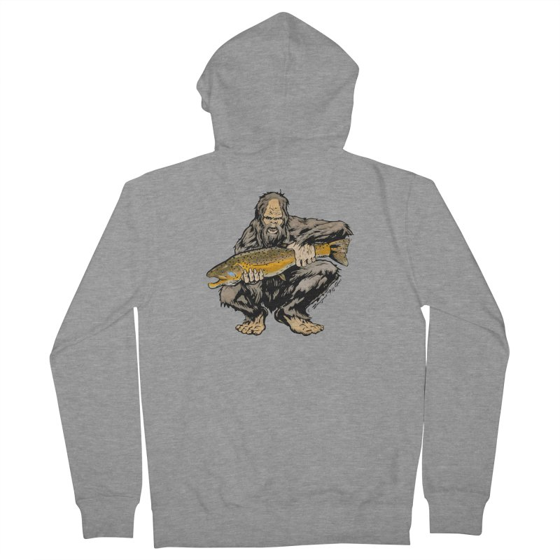 Sasquatch with Brown Trout Men's French Terry Zip-Up Hoody by Boneyard Studio - Boneyard Fly Gear