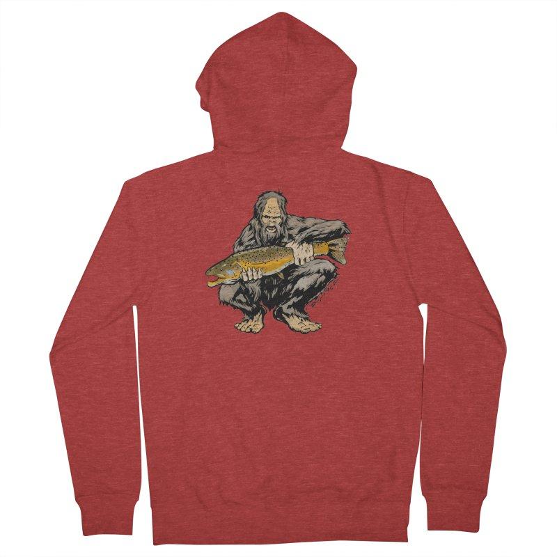 Sasquatch with Brown Trout Men's French Terry Zip-Up Hoody by Boneyard Studio - Boneyard Fly Gear