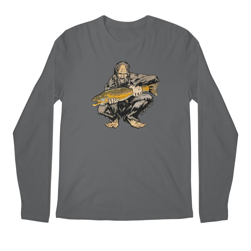 Sasquatch with Brown Trout Men's Longsleeve T-Shirt by Boneyard Studio - Boneyard Fly Gear