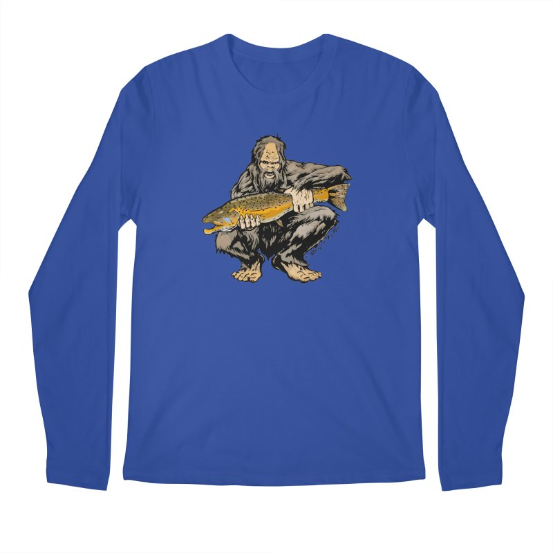 Sasquatch with Brown Trout Men's Longsleeve T-Shirt by Boneyard Studio - Boneyard Fly Gear
