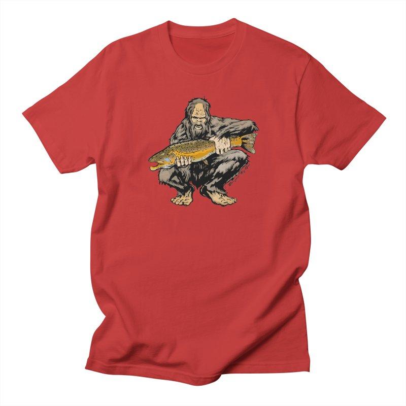 Sasquatch with Brown Trout Women's Regular Unisex T-Shirt by Boneyard Studio - Boneyard Fly Gear