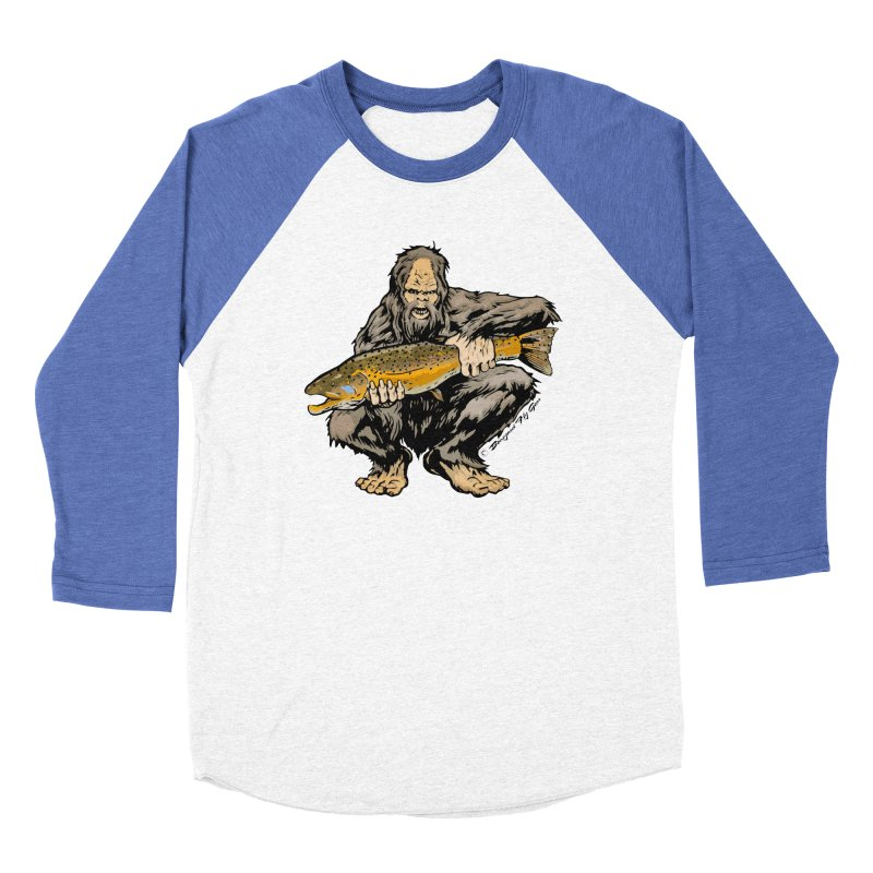 Sasquatch with Brown Trout Women's Baseball Triblend Longsleeve T-Shirt by Boneyard Studio - Boneyard Fly Gear