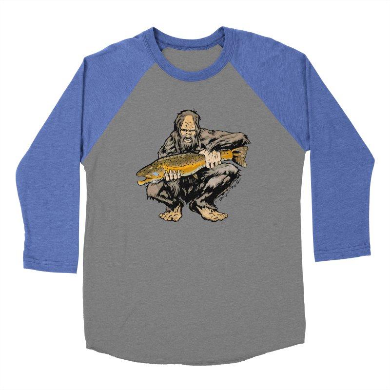 Sasquatch with Brown Trout Women's Baseball Triblend Longsleeve T-Shirt by Boneyard Studio - Boneyard Fly Gear