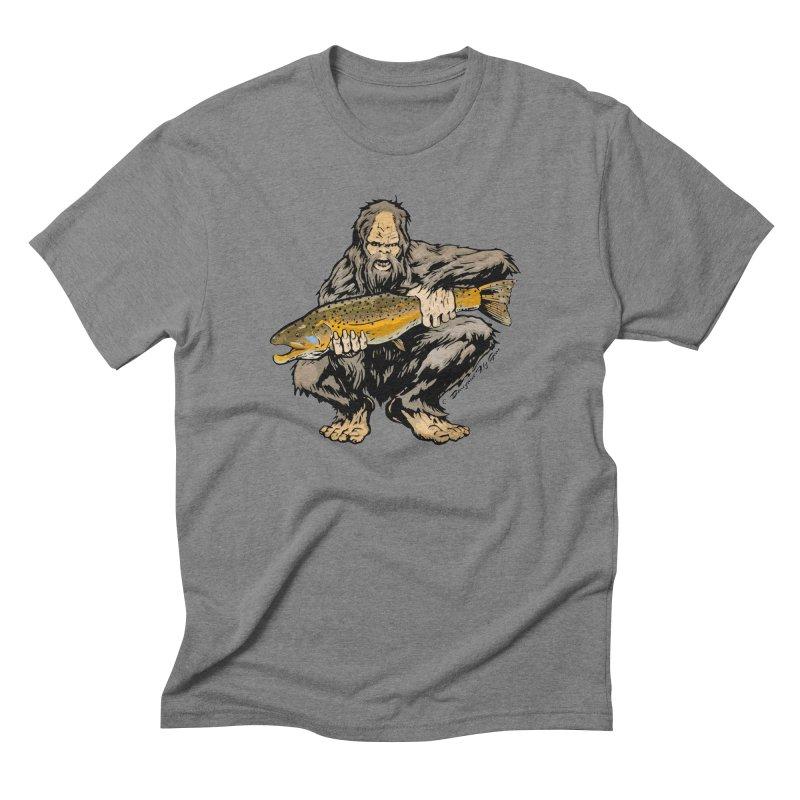 Sasquatch with Brown Trout in Men's Triblend T-shirt Grey Triblend by Boneyard Studio - Boneyard Fly Gear
