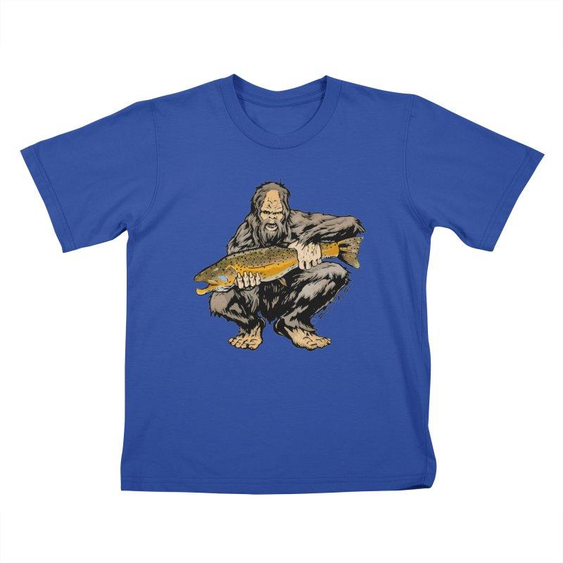 Sasquatch with Brown Trout Kids T-Shirt by Boneyard Studio - Boneyard Fly Gear