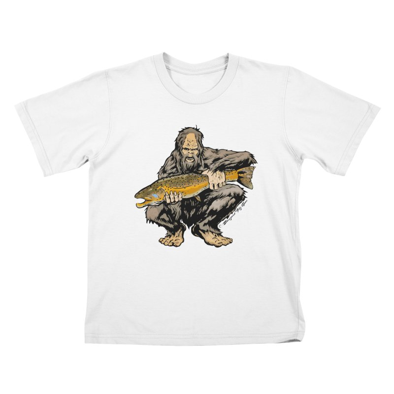 Sasquatch with Brown Trout Kids T-Shirt by Boneyard Studio - Boneyard Fly Gear