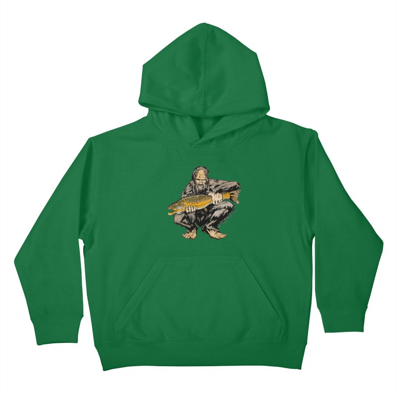 Sasquatch with Brown Trout Kids Pullover Hoody by Boneyard Studio - Boneyard Fly Gear
