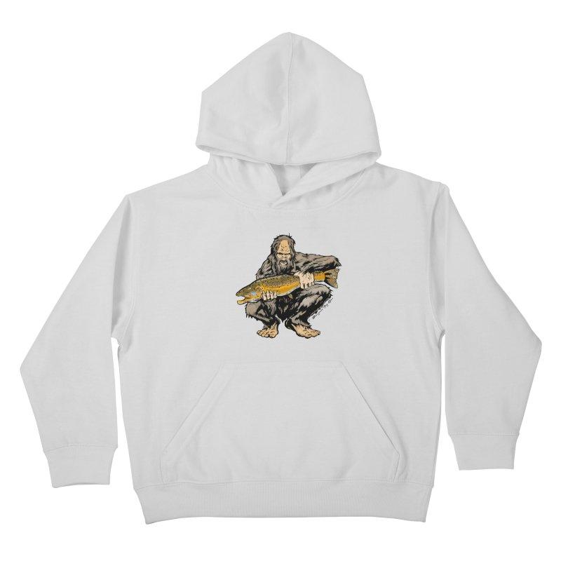 Sasquatch with Brown Trout Kids Pullover Hoody by Boneyard Studio - Boneyard Fly Gear